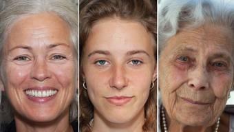Carine (46), Lovina (19) und Hedy (92) verzichten auf Schminke.