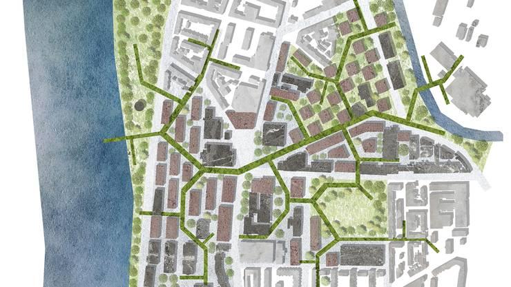 Grüne Korridore sollen das Gebiet erschliessen. ZVG