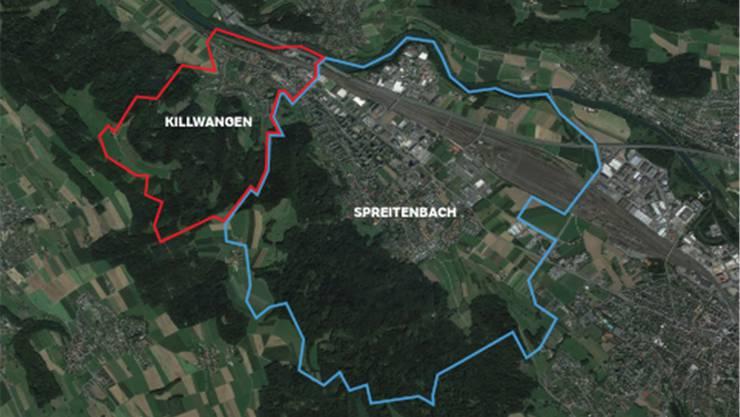 Die Satellitenaufnahme zeigt den Grössenunterschied der beiden Gemeinden.