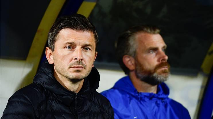 Marinko Jurendic (l.) musste den Posten des Cheftrainers beim FC Aarau räumen, sein Assistent Stephan Keller übernimmt interimistisch.Archiv/Freshfocus