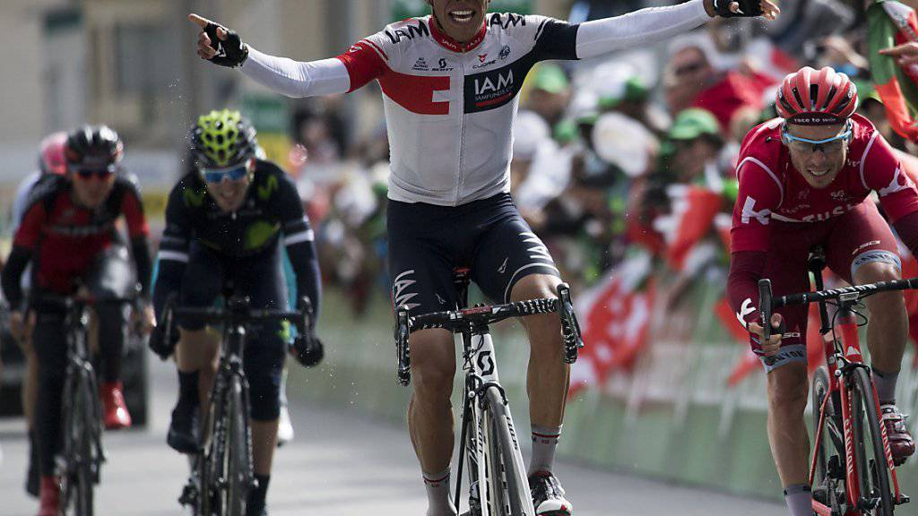Nur allzu gerne sähe die IAM-Teamführung ein solches Bild auch während der Tour de France: der Kolumbianer Jarlinson Pantano bei seinem Tour-de-Suisse-Etappensieg in Davos