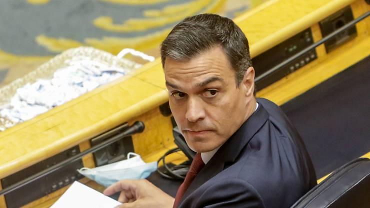 Pedro Sanchez, Ministerpräsident von Spanien, nimmt an einer Senatssitzung teil. Foto: Ricardo Rubio/EUROPA PRESS/dpa