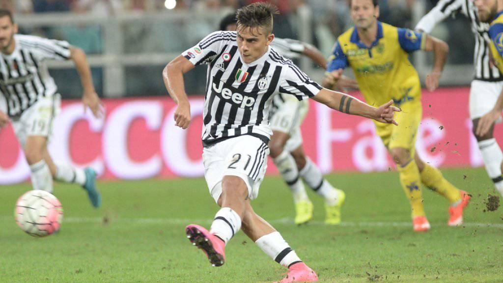 Juventus' Paulo Dybala verwertete einen Penalty gegen Chievo