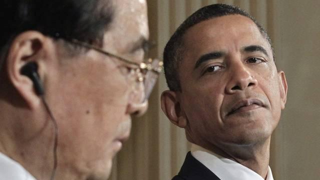"""In der Frage der Menschrechte gibt es """"bedeutende Differenzen"""" zwischen China und den USA: Hu (l.) und Obama an der Pressekonferenz"""