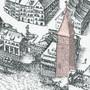 Ausschnitt aus dem Merian-Plan von 1615: Der Salzturm bei der Mittleren Brücke.