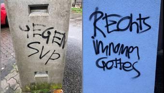 Not amused ist SVP-Landrat Matthias Ritter über diese zwei «Kunstwerke» auf seinem Grundstück, wie er schreibt.