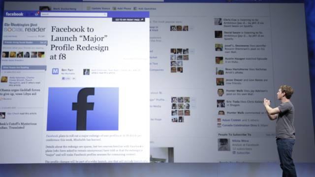 Facebook CEO Mark Zuckerberg bei einer Präsentation (Archiv)