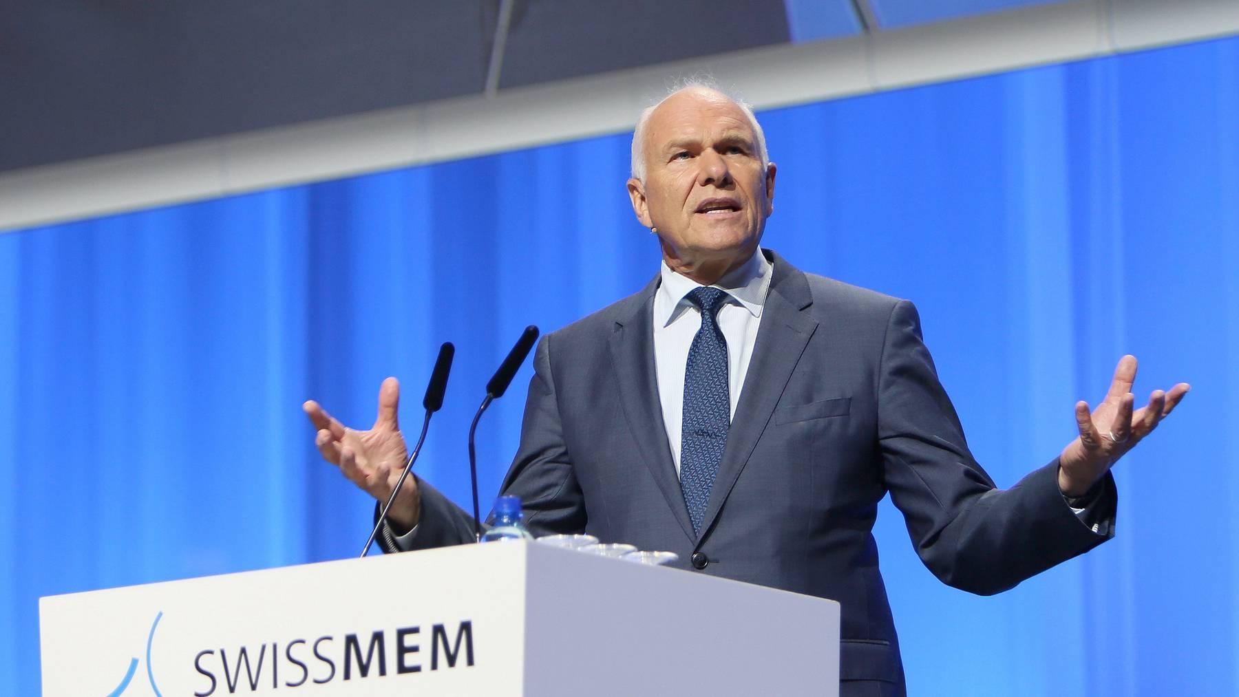 Der Lohnschutz dürfe dem Rahmenabkommen mit der EU nicht im Wege stehen, sagt Swissmem-Präsident Hans Hess.