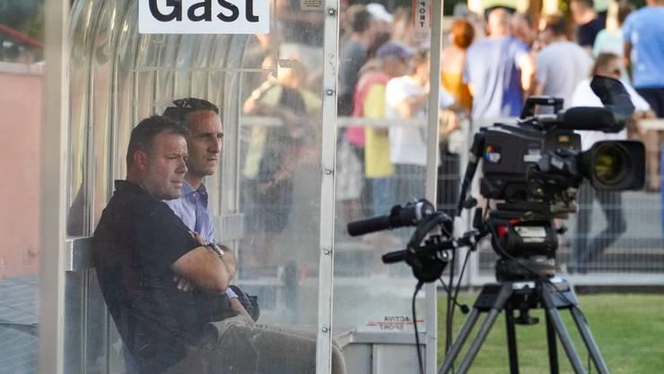 Aaraus Trainer Patrick Rahmen und Sportchef Sandro Burki sind sichtlich unzufrieden.