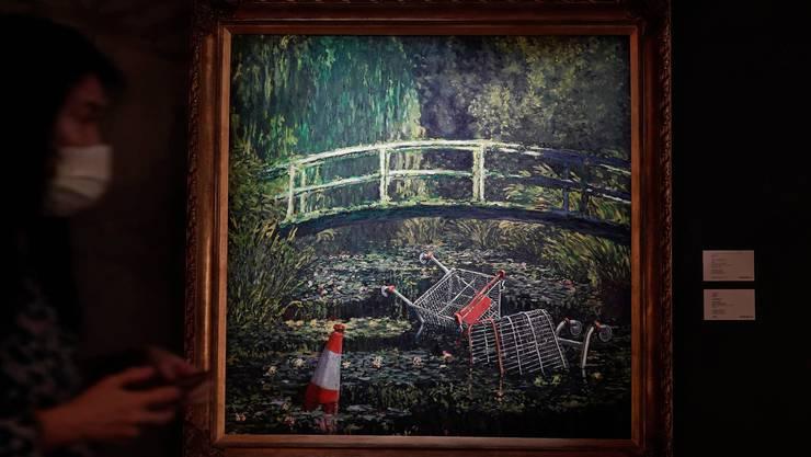 Das 9 Millionen Franken schwere Werk während der Sotheby-Auktion in Hongkong. (Bild: Keystone)