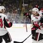 Jubel im Dress der Ottawa Senators: Tristan Scherwey erzielte in einem NHL-Vorbereitungsspiel den 2:1-Siegtreffer für Ottawa