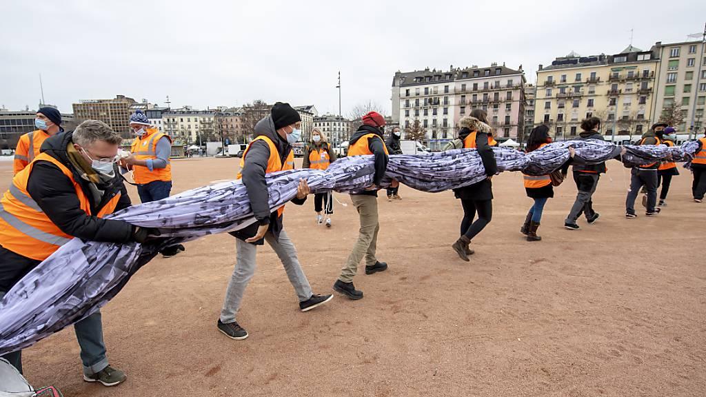 Riesiges Auge soll in Genf für Klimawandel sensibilisieren
