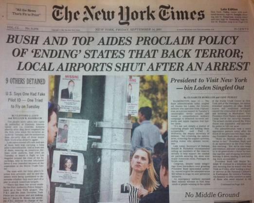 Bush toleriert keine Staaten mehr, die Terroristen beherbergen: New York Times vom 14. September 2001