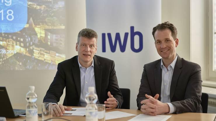 CEO Dr. Claus Schmidt und CFO Alexander Lenzlinger an der Jahresmedienkonferenz zum Geschäftsjahr 2018.