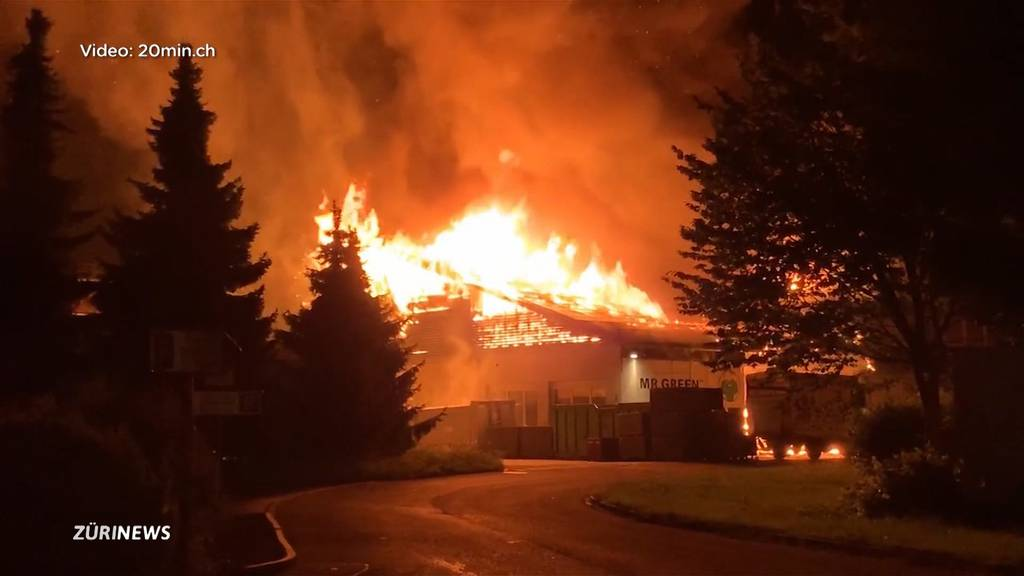 Grossbrand einer Recyclingfirma in Hinwil hält Feuerwehr auf Trab