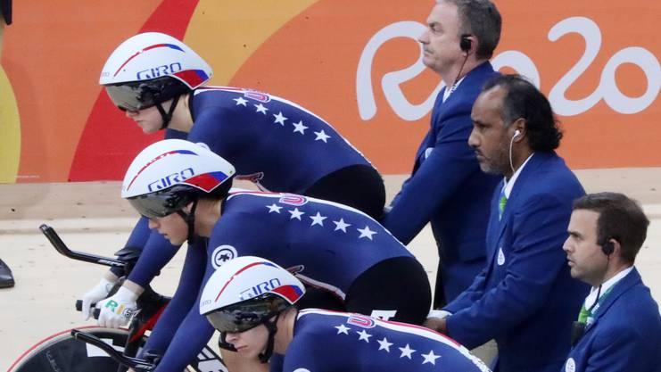 Mit dem US-Bahnradvierer wurde Kelly Catlin drei Mal in Folge Weltmeisterin.