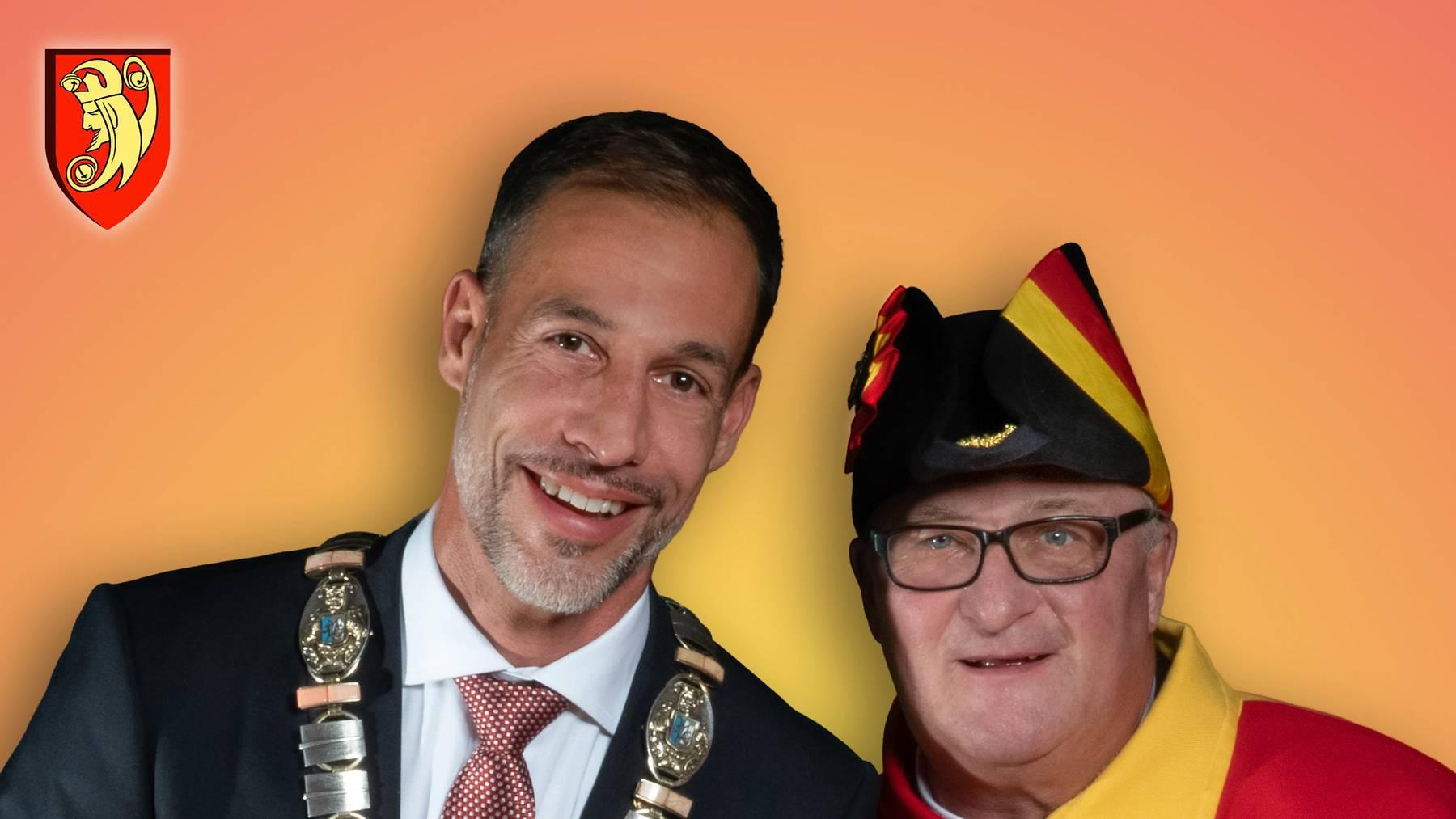 Der neue Präsident Pascal Lüthi-Keller (links) mit seinem Weibel Carlo Bacchetta.