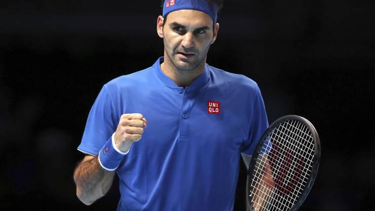 Federer und die Faust. Für Roger Federer sind die ATP Finals in London bisher ein Steigerungslauf.