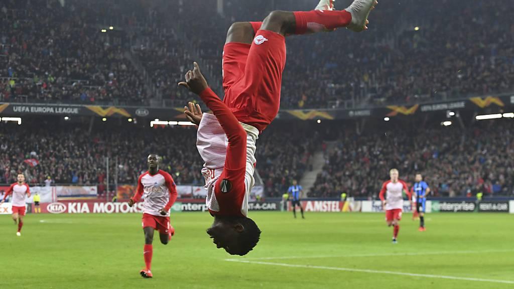 Patson Daka, hier beim Torjubel für Salzburg in der Europa League, verwirklicht seinen Traum von der Premier League