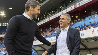Eindhoven-Trainer Mark van Bommel und Marcel Koller: Nach dem Spiel lachte nur noch der FCB-Trainer.