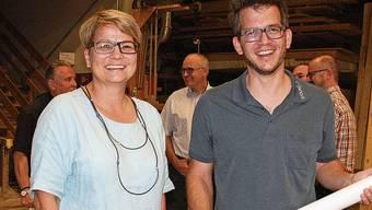Franziska Bircher und Bernhard Stöckli vom OK der Gewerbeschau planen für 2021.