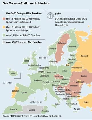 Corona-Risiko nach Ländern.
