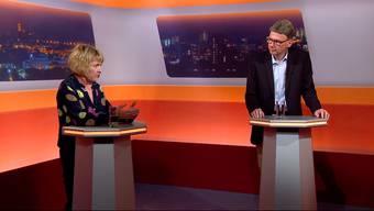 Sie kämpfen um den Sitz von Urs Hofmann: Christiane Guyer (Grüne) und Dieter Egli (SP) im TV-Duell