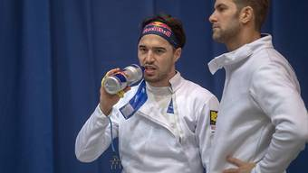 Max Heinzer (links) und Benjamin Steffen treten im WM-Teamwettbewerb der Degenfechter mit der Schweiz als Titelverteidiger an
