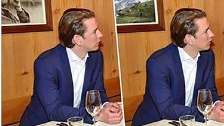 """Sebastian Kurz in zwei Versionen: links das Original, rechts die vom """"Joint"""" gesäuberte Variante (Twitter, diverse Urheber)"""