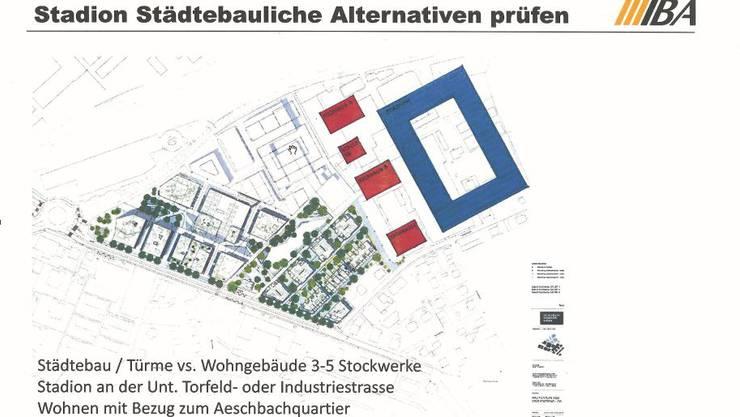 Vier Wohnhäuser (rot) statt drei Türme, das Stadion neu nach Osten verschoben.