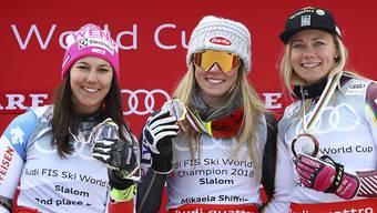 Die besten Slalom-Fahrerinnen des Winters (von links nach rechts): Wendy Holdener, Mikaela Shiffrin, Frida Hansdotter