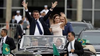 Am Tag seiner Vereidigung fuhr Jair Bolsonaro gemeinsam mit seiner Ehefrau Michelle durch die Hauptstadt Brasilia – jetzt kommt er zum WEF in die Schweiz.