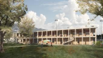 So soll der Neubau des Doppelkindergartens und der Tagesschule im Brühl aussehen.
