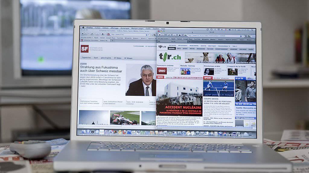 Die SRG soll nach Meinung des Schweizerischen Gewerbeverbands sgv insbesondere im Internet weniger Leistungen anbieten. (Symbolbild)