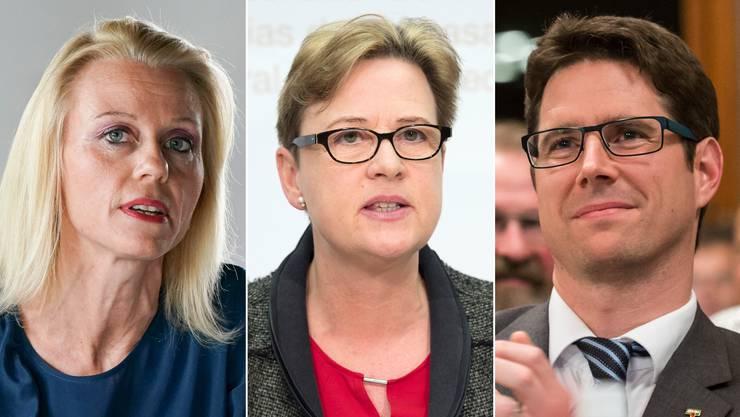 Drei der sieben Unterstützerinnen: Lilian Studer (EVP, AG), Edith-Graf-Litscher (SP, TG) und Lars Guggisberg (SVP, BE).