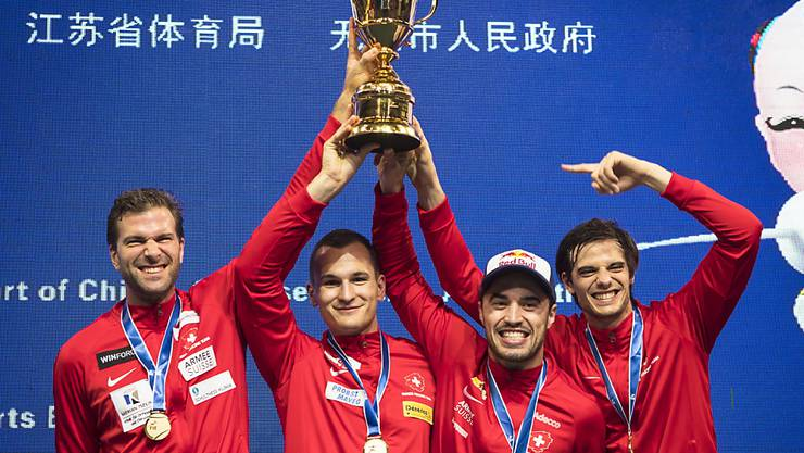 Das Schweizer Weltmeister-Quartett im chinesischen Wuxi