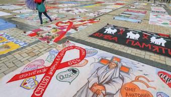 Gedenkaktion in Kiew für verstorbene Aids-Kranke im Jahr 2014