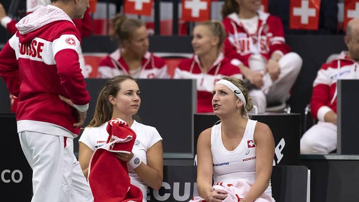 Timea Bacsinszky (rechts) spielt gegen die USA, Stefanie Vögele (links) ist nicht dabei