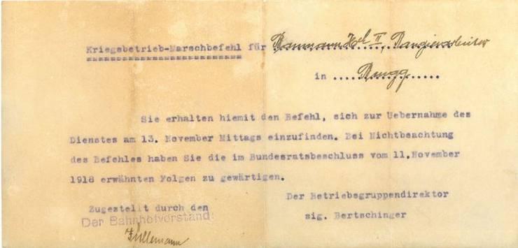 Diesen Kriegsbetrieb-Marschbefehl erhielt Rangierarbeiter Heinrich Baumann von seinen Vorgesetzten in Brugg.