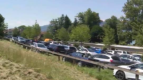 Die Hitze führte am Hallwilersee zu Dichtestress: wildes Parkieren.