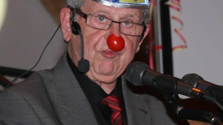 Präsident Markus Würth mit Narrenkappe und roter Nase. Foto: sim