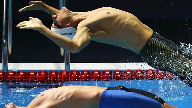 Lukas Räuftlin bei seinem WM-Start über 100 m Rücken