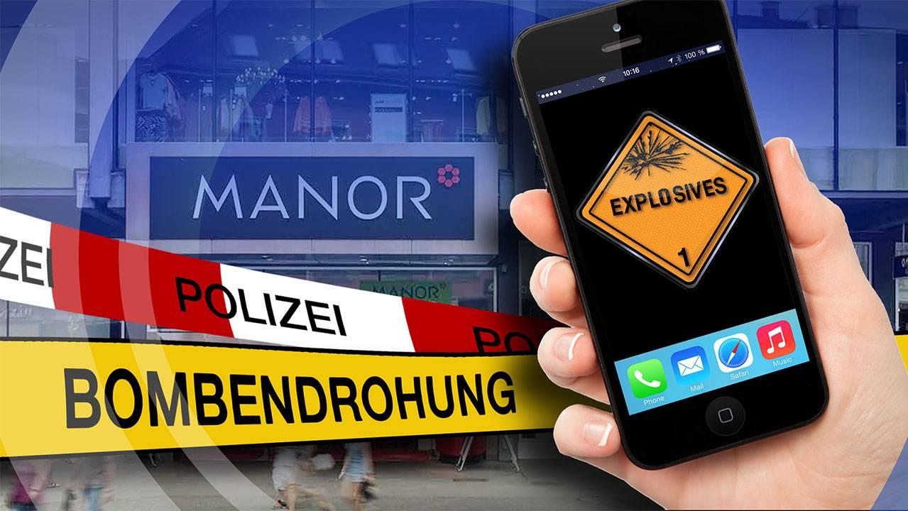 Bombendrohung Manor Baden