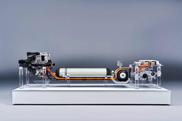 Antriebskomponenten des Wasserstoffantriebs.