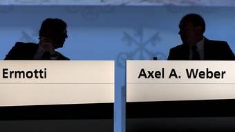 Der Chef und der Präsident der UBS, Sergio Ermotti und Axel Weber, an der heutigen Generalversammlung in Basel.