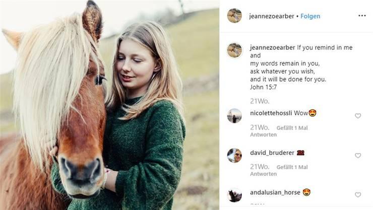 Pferde sind zentraler Bestandteil ihrer Posts: Jeanne Zoe Arber auf Instagram.