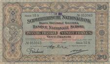 """Herzig: Das """"Vreneli"""" im Medaillon schmückte die 20er Note im Jahr 1914."""