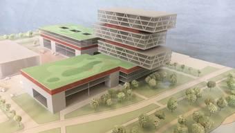 Der verschachtelte Büroturm soll ab der zweiten Bauphase zum Markenzeichen des «Kompetenzzentrums Industrie 4.0» werden.