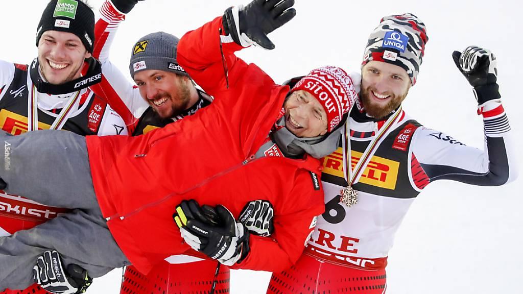 Sonnte sich immer gerne im Glanz seiner erfolgreichen Skifahrer: ÖSV-Präsident Peter Schröcksnadel nach dem dreifachen Slalom-Sieg an der WM 2019 in Are
