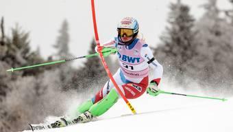 Denise Feierabend auf dem Weg zu ihrem besten Slalomergebnis.